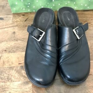 Clarks Black Leather Mules Clogs Slip On Buckle